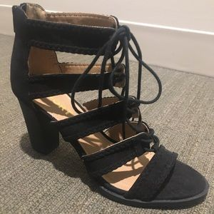 Report black 3.25 inch heel lace-up sandal
